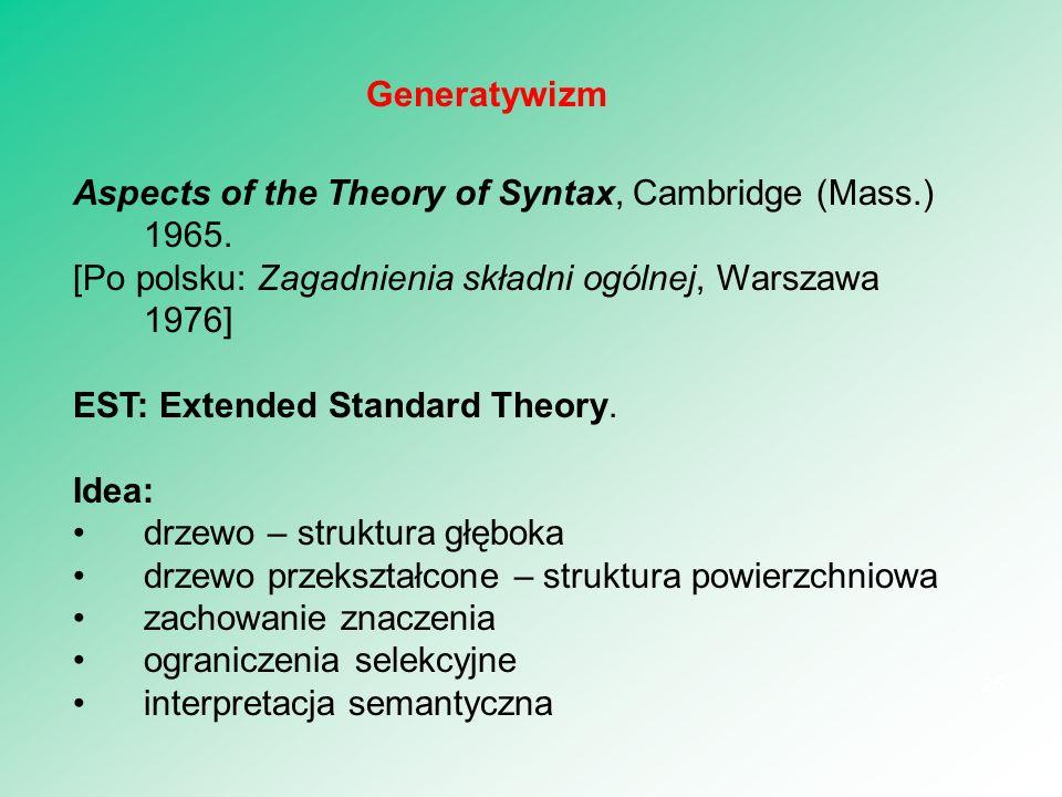 Generatywizm Aspects of the Theory of Syntax, Cambridge (Mass.) 1965. [Po polsku: Zagadnienia składni ogólnej, Warszawa 1976]